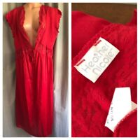 80's Nightgown Red Stretch Floral Lace Deep Plunge Shiny Nylon Babydoll Gown XL