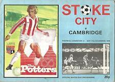 Stoke City v Cambridge United - Div 2 - 11/11/1978 - Football Programme