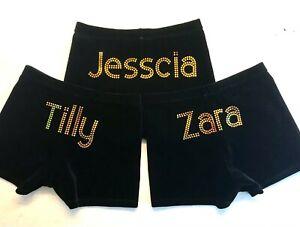 Gazelle Personalised Gymnastics/Dance Velvet Shorts. Improved Permanent Bling