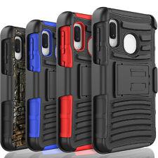 For Samsung Galaxy A10E A20 A30 A50 Case Belt Kickstand+Tempered Glass Protector