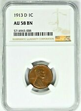 1913-D 1C Lincoln Wheat Cent NGC AU 58 BN (Si-FE) 99c NO RESERVE  Witter Coin
