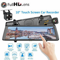 10'' 1080P Dual Lens Car Mirror DVR Dash Cam Recorder Rear View Monitor Camera
