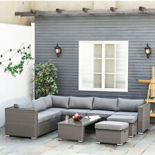Outsunny 6PC PE Rattan Corner Sofa Set Outdoor Conservatory Furniture w/ Cushion