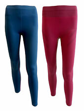 Damen lange Unterhose Funktionswäsche Leggings S M L Blau Beere Pink NEU!!!