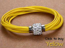 Crystal Wheel Spinner Multi-strand Leather Bracelets - YELLOW