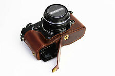 Coffee leather half Bottom Case Cover bag grip For Olympus Pen-F camera ( Pen F)