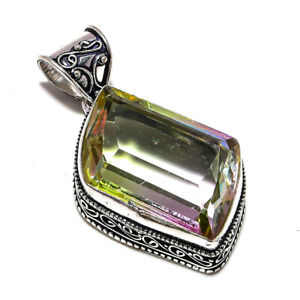 "Bi-Color Tourmaline Gemstone Handmade 925 Sterling Silver Jewelry Pendant 2"""