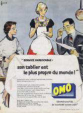 PUBLICITE ADVERTISING 064 1958 OMO son tablier est le plus propre du monde