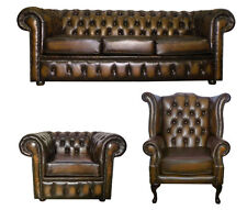 Chesterfield 3 Piece Suite Genuine 100% Leather Handmade in UK Antique Brown