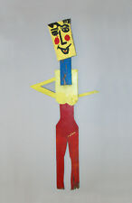 """Old Vtg 1970s George Colin Outsider Art Wooden Figure of Woman 54"""" Tall Signed"""