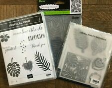 Stampin Up TROPICAL CHIC Stamps, TROPICAL Dies & PALM Branches Embossing Folder