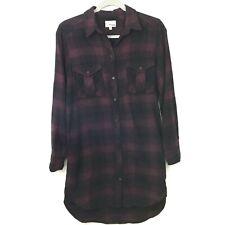 Wilfred Free Veronika Flannel Shirt Dress XS Purple Plaid Button Front Cotton