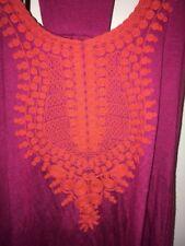 Vanessa Virginia Anthropologie Fuschia Tank Top With Orange Embroidery, Size S