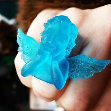 Unique FROSTED TURQUOISE MUSING CHERUB RING heaven ANGEL blue ADJUSTABLE fab!