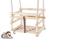 GREAT NATURAL WOODEN ROPE SWING INDOOR OR OUTDOOR GARDEN 4 KIDS BABY CHILDREN!!!