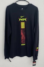 NIKE Catching Air T-Shirt Long Sleeve Crew Neck Black Men's Shirt XL NEW