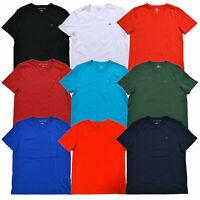 Tommy Hilfiger Mens T-shirt V-NECK Classic Fit Flag Logo Short Sleeve Solid New