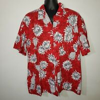 VTG Hawaii Blues  Mens XL Hawaiian Shirt Red Cotton Floral Pineapple Magnum PI