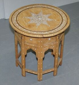 VERY RARE CIRCA 1900 SYRIAN MOTHER OF PEARL MARQUETRY INLAID ROSEWOOD SIDE TABLE