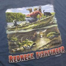Redneck Sportsman Mens T-Shirt sz 2XL Fishing Fish Finder 2005 Buck Blue O75