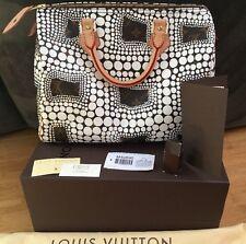 Authentic Louis Vuitton Kusama Speedy Handbag White Dots w/ Receipt Box Dustbag!