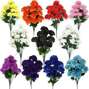 18 Head Large Carnation Bouquet - Artificial Silk Flowers Fake Funeral
