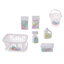 7pcs Dolls Laundry Tools Mini Laundry Basket Bucket for Doll White