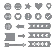 Recollections Planner Tabs Cut & Emboss Dies - Arrows, To Do, Flags, Pennants