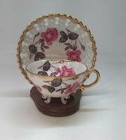 Antique Royal Sealy China Tea Cup and Lattice Saucer Gold Trim Pink Roses 3 feet