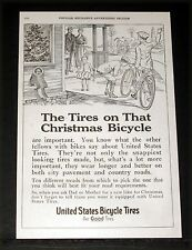 1917 OLD MAGAZINE PRINT AD, UNITED STATES BICYCLE TIRES, FOR CHRISTMAS BIKES!