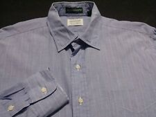 Gitman Bros Mens sz 16 Long Sleeve Button-Front Blue Striped Shirt Made in USA