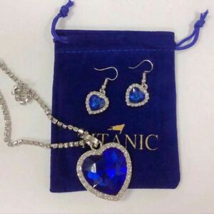 Titanic Crystal Necklace and Earring SET! Heart of the Ocean Christmas!