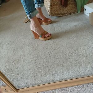 Miss Sixty Cork Wedge High Heel Sandals With Flower Detail. Size 4.