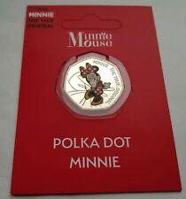 Disney Minnie Mouse - Polka Dot Minnie 50p Silver Plated Colour Medal Coin