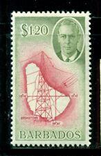 BARBADOS 226 SG281 MNH 1950 $1.20 KGVI Defin Map of Barbados Cat$14