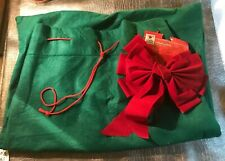 Santa's Bag Green Felt Red Drawstring Tie & Bow 25� Wide x 33� Long Used Once