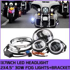 7 inch Round LED Headlight + fog light+ ring Haley Davidson motorcycle Daymaker