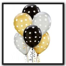 10 x Silver, Black & Gold Balloons with white Polka Dots party Supplies Birthday