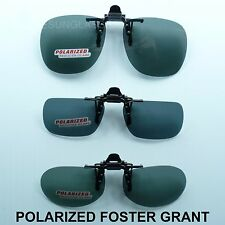 POLARIZED FLIP UP CLIP ON SUNGLASSES FOSTER GRANT FISH DRIVE UNISEX FRAME LENS