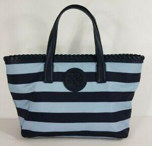 Tory Burch Marion Printed Nylon E/W Blue Navy Stripe Shopper Tote Bag purse