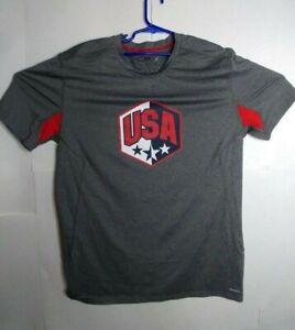 Champion Power Core Duo Dry USA Shield Gray Workout Shirt size XXL men