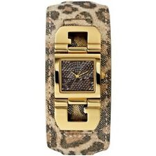 New Authentic GUESS U0054L2 LEOPARD PRINT Leather strap Gold tone Dial watch NWT