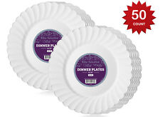 """White Disposable Plastic Plates For Party & Dinner 10.25"""" Silver Rim"""