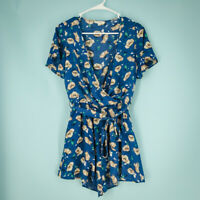 Gilli ASOS Size Small S Wrap Tie Waist Romper Boutique Blue Top Floral Print