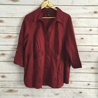 Lane Bryant Women's Red 3/4 Sleeve Button Front Blouse Top Plus Size 22/24