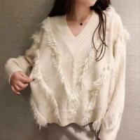 Women Pullover Knitted Sweater V-Neck Tassels Oversized Cashmere Knitwear Jumper