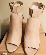New Indigo Rd. Mashi Light Natural Fabric Peep Toe Ankle Strap Mules 7M