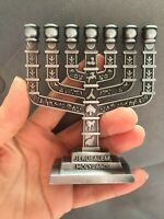 """Menorah Jerusalem Temple 4""""  Inch Height 10 Cm 7 Branches Brass  -  Small Size"""