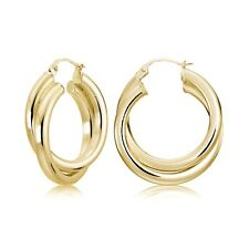 Gold Flash Silver Square-Tube 25mm Crossover Double Round Hoop Earrings