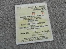 1963 ENGLAND V REST OF THE WORLD FA CENTENARY TICKET
